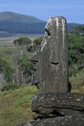 South America,Chile, Easter Island, Moai Statues, Rano Raraku Volcano Stock Photos