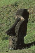 South America,Chile, Easter Island, Moai Statues, Rano Raraku Volcano - stock photo