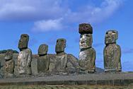 Stock Photo of South America,Chile, Easter Island, Moai Statues, Ahu Tongariki
