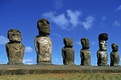 South America,Chile, Easter Island, Moai Statues, Ahu Tongariki Stock Photos