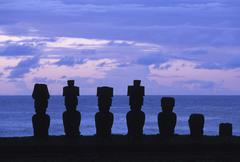 South America,Chile, Easter Island, Anakena Beach - stock photo