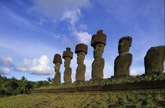 South America,Chile, Easter Island, Anakena Beach Stock Photos