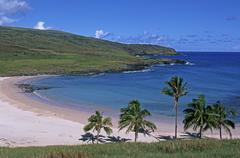 South America,Chile, Easter Island, Anakena beach - stock photo