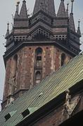 Poland, Krakow, Grand square of Rynek Glowny, detail of St.Mary's church - stock photo