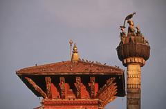 Nepal, Katmandu, Durbar Square, Taleju temple and King Pratap Mallas column - stock photo