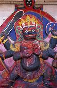 Nepal, Katmandu, Durban square, Kala Bhairab statue Stock Photos