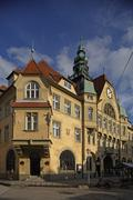 Slovenia Ptuj, old town, town Hall, neo-Gothic German style,1907 Stock Photos