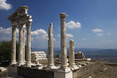Turkey, Bergama, Pergamon, Corinthian columns of Temple of Trajan - stock photo