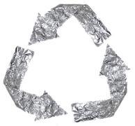 Aluminium recycle symbol Stock Photos