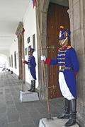 Ecuador, Quito, presidential palace guards - stock photo