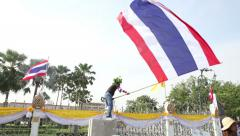 Politcal Protesters Waving Thai Flag In Bangkok Thailand Stock Footage