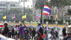 Thai Flag Waves During Political Protests In Bangkok Thailand - stock footage