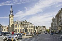 Belgium, Flanders. Town of Lier, town hall and the belfry (1369 ) Stock Photos