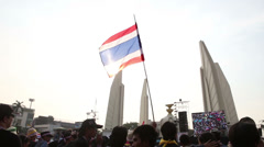 Thai Flag Waves At Democracy Monument During Political Rally In Thailand - stock footage