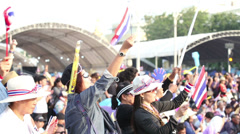 Anti-Government Protesters In Bangkok Thailand Wave Flags Stock Footage