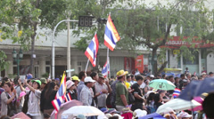 Anti-Government Protesters In Bangkok Thailand Carry Large Flags Stock Footage