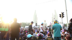Politcal Protesters Preparing In Bangkok Thailand Stock Footage