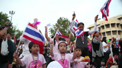 Stock Video Footage of Women And Children Anti-Government Protesters In Bangkok Thailand