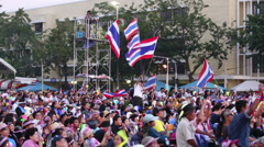 Flags Wave At Anti-Government Protest Rally In Thailand Stock Footage