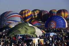 USA, New Mexico, Albuquerque, hot air balloons on ground Stock Photos
