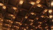 Stock Video Footage of Theater and Concert Hall Ceiling with Retro Flashing Marquee Lights 1080p