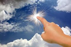 hand and the sun - stock illustration
