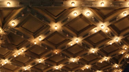Stock Video Footage of Theater Ceiling with Retro Flashing Marquee Lights in Downtown 1080p