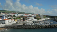General view of town and harbour, angra do heroismo, terceira island, azores Stock Footage