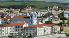 View of town and misericordia church, angra do heroismo, terceira, azores Stock Footage