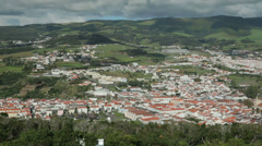Aerial view of angra do heroismo, terceira island, azores, portugal Stock Footage