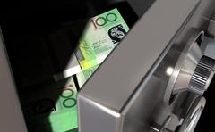 Open safe with australian dollars Stock Illustration