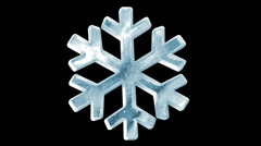 Icy Snowflake Icon Rotation with Alpha Channel. Seamless Looping HQ Video Clip Stock Footage