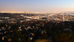 4K Downtown Los Angeles Skyline Twilight Time Lapse -Pan Right- Stock Footage