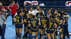 Women's handball Timeout Spain Stock Footage