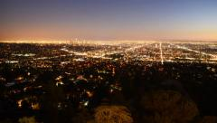 4K Downtown Los Angeles Skyline Twilight Time Lapse -Zoom Out- Stock Footage