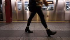 Waiting for the subway Stock Footage