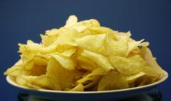 Potato chips plate Stock Photos