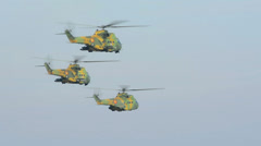Romanian millitary attack helicopters in formation HD Stock Footage