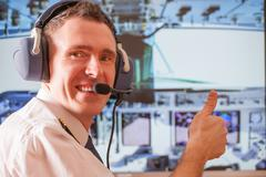 airline pilot - stock photo