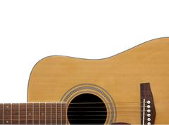 acoustic guitar crop with adspace - stock photo