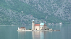 Our Lady of the Rocks on Kotor Bay Stock Footage