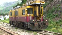 Montenegro Railways - locomotive stops at Sutomore station Stock Footage