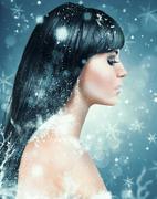 winter beauty makeup - stock photo