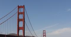 Ultra HD 4K Famous Golden Gate Bridge, San Francisco Bay Boat Ship Cars Traffic Stock Footage
