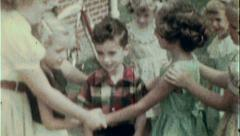 Children Play Game Dance Ring Around Roses Vintage Film Home Movie 7431 Stock Footage