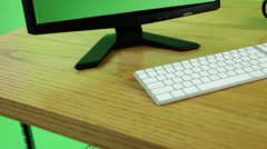Computer, keyboard, coffee with copy space on green screen Stock Footage
