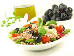 healthy style low-fat breakfast with tuna salad - stock photo