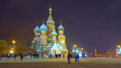 Red Square, St. Basil's Cathedral in winter, New Year time, time-lapse. Stock Footage
