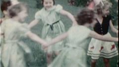 Children Play Game Dance Ring Around Roses Vintage Film Home Movie 7432 Stock Footage