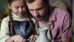 Dad And Daughter Crafting Stock Footage